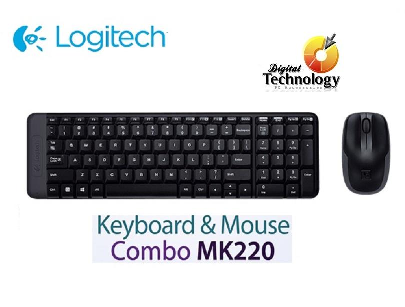 Teclado y Mouse Logitech Wireless Combo mk220, USB Color Negro.