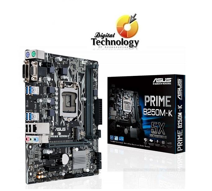 T. Madre ASUS PRIME B250M-A, Soporta: Core i7 i5 i3 Pentium Celeron de 7ma Gen