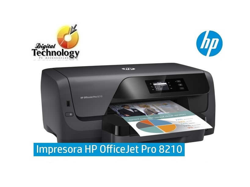 Impresora de inyección de tinta a color HP Officejet Pro 8210 Wi-Fi, Ethernet, USB.