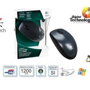 Mouse óptico Logitech M100, alambrico, 1000 dpi, USB, color Negro, con Scroll