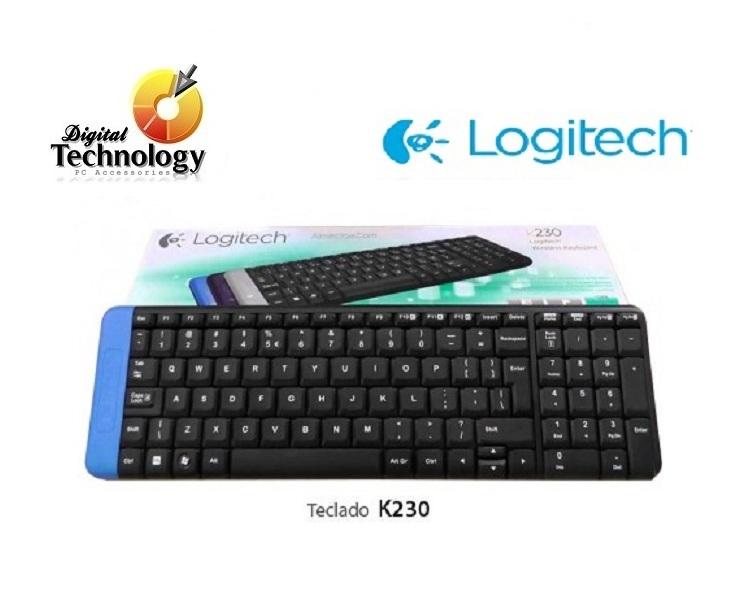 Teclado Logitech Inalámbrico K230, con tapa de baterías de colores, USB.