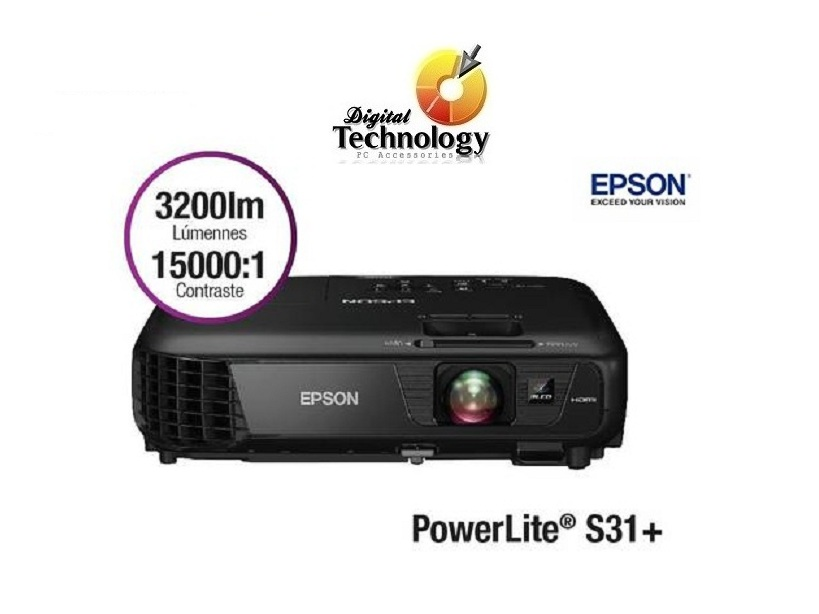 Proyector Epson PowerLite S31+3200 Lumens, SVGA 800 x 600, 3200 Lúmenes