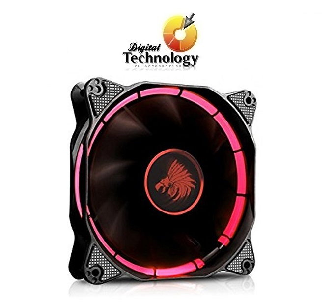 Ventilador Eagle Warrior Halo Fan con Leds Rojos, 120 mm.