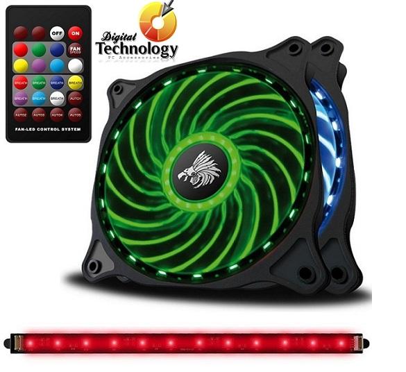 Paquete de 2 ventiladores y tira LED RGB Eagle Warrior con 5 modos automáticos