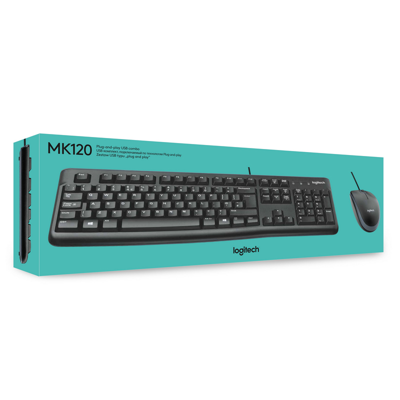 Kit de Teclado y Mouse Logitech MK120, Alámbrico, USB, Color Negro 1000 DPI