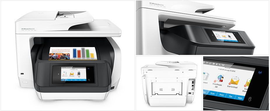 Multifuncional De Inyeccion Hp Officejet Pro 8720, Aio, 24 Ppm NEGRO/ 20 Ppm Color, Wifi