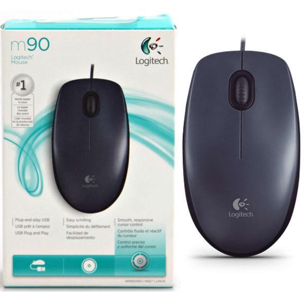 Mouse Óptico Logitech M90 - Alámbrico - USB - 1000 Dpi - 2 Botones + Scroll - Negro