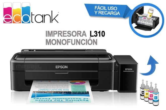Impresora de Inyección a Color Epson EcoTank L310 Sistema de Tanques de Tinta, USB.