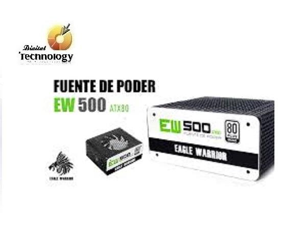 Fuente de Poder Eagle Warrior EW500 de 500W, ATX, 80 Plus Bronze.