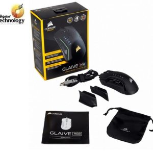 Mouse Gamer Corsair GLAIVE RGB hasta 16,000 dpi, USB Tipo de Mouse Óptico