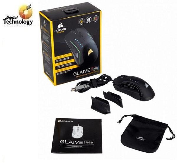 Mouse Gamer Corsair GLAIVE RGB hasta 16,000 dpi, USB Tipo de Mouse Óptico