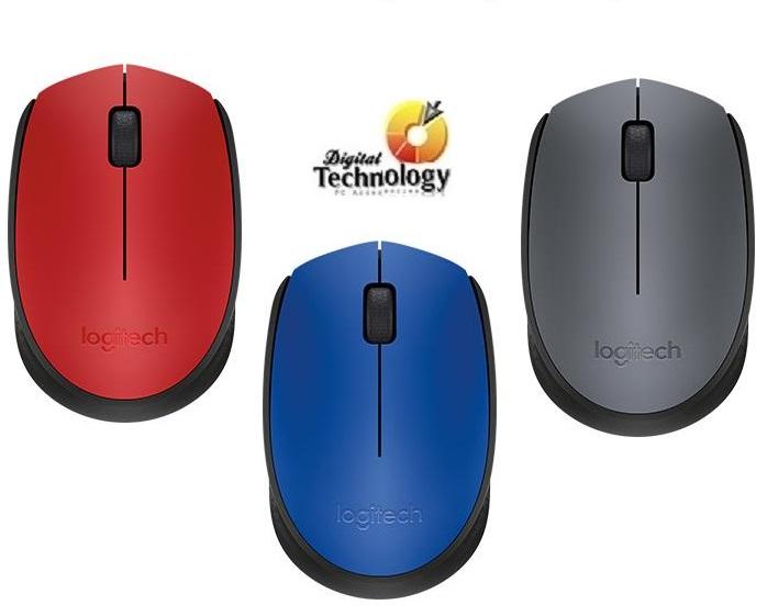 Mouse Óptico Inalámbrico Logitech m170, USB, Colores: Azul, Gris, Rojo.