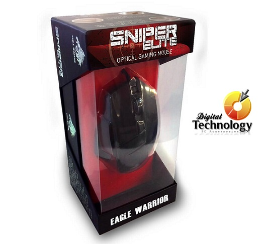 Mouse Gamer Eagle Warrior Sniper Elite hasta 4000 dpi, USB, Incluye Mousepad.