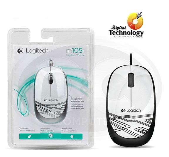 Mouse Logitech Óptico M105, Alámbrico, 3 Botones USB, Color Blanco.