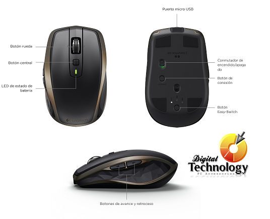 Mouse Inalámbrico Logitech MX Anywhere 2, Sensor Láser, USB y Bluetooth.